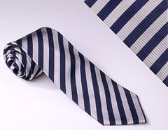 Medium Navy Blue and Silver Stripes (S112)