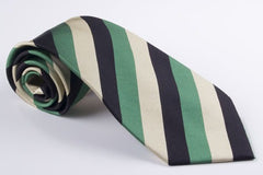 Medium Stripe Navy Green Taupe (S132)
