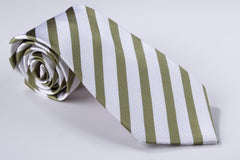 Narrow Olive Green and Medium White Stripe (S158)
