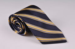 Navy and Gold Repp Stripe Tie (S189)