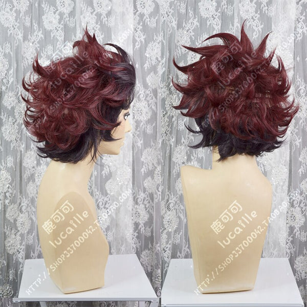 Demon Slayer: Kimetsu no Yaiba Tanjirou Kamado Short Brown Red Wig - lovelogostore