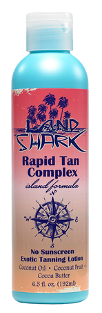 No sunscreen tanning lotion. Land Shark tanning lotion. sun care. indoor and outdoor tanning lotion. Dark Tanning.