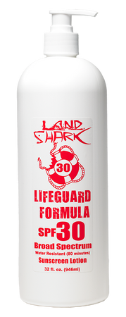 Land Shark® sunscreen UVA UVB Broad Spectrum Protection. Fragrance Free SPF Lotion. Sun protection. Sun Care. SPF 30. Dermatologist Tested. Oxybenzone Free. Octinoxate Free.