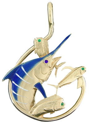 Tropical Seas® Jewelry Collection 14KY gold Blue Marlin Circle Hook Pendant by Reef Safe Sun®. Description: 7.2 Dwt, set with a .02ct, Blue Sapphire eye with blue and white ceramic color. CERAMIC