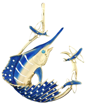 Tropical Seas® Jewelry Collection 14KY gold Sailfish Circle Hook Pendant by Reef Safe Sun®. Marine Jewelry. Jewelry. Pendants. Ocean Jewelry. Blue Marlin Jewelry. Fishing Jewelry. Fish Jewelry.
