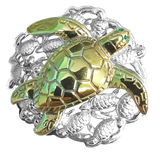 Reef Safe Sun® Jewelry Collection Gold Plated Sea Turtle and Silver Hatchlings Pendant by Reef Safe Sun®