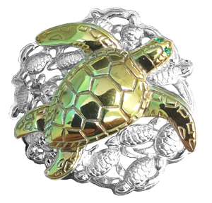 Tropical Seas® Jewelry Collection Gold Plated Sea Turtle and Silver Hatchlings Pendant by Reef Safe Sun®. Description: Set with two .01ct Emerald eyes. GEMSTONES All stones in product are of high