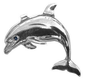 Sterling Silver Jumping Porposie Pendant by Reef Safe Sun® Collection Marine Jewelry. Jewelry. Pendants. Ocean Jewelry. Blue Marlin Jewelry. Fishing Jewelry. Fish Jewelry.