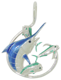 Sterling Silver Blue Marlin Circle Hook Pendant by Tropical Seas Collection