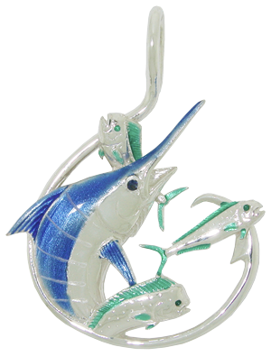 Tropical Seas® Jewelry Collection Sterling Silver Blue Marlin Circle Hook Pendant