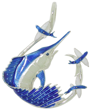 Tropical Seas® Jewelry Collection Sterling Silver Sailfish Circle Hook Pendant