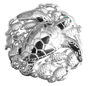Tropical Seas® Jewelry Collection Silver Sea Turtle and Hatchlings Pendant