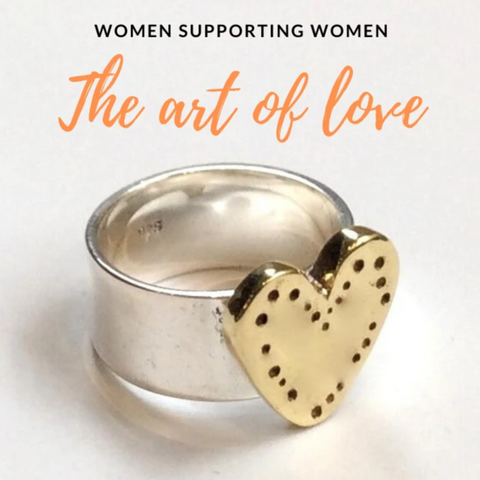 Silver Brass Heart ring - The Art Of Love R2340