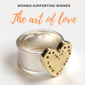 Women Support Women Silver brass heart ring- The Art Of Love R2340