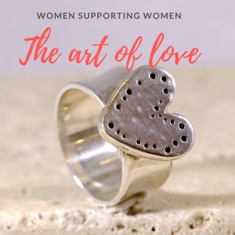 Silver Heart Ring Women Supporting Women - The Art Of Love R2340S
