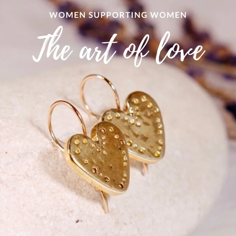 Golden brass Heart Earrings - The Art Of Love EK7000