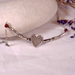 Silver Bar Heart Necklace - The Art Of Love N7001