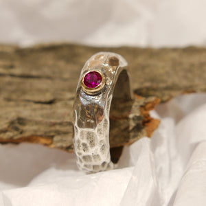 Ruby Hammered Silver Gold Ring - Clear Water R0900H