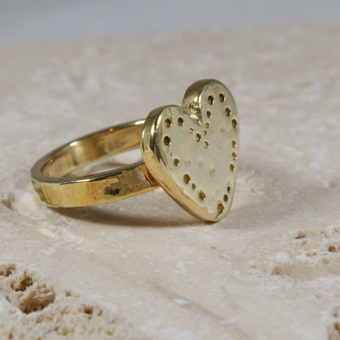 Golden brass heart ring - The Art Of Love RK2340