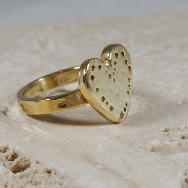 14k Solid Gold heart ring - The Art Of Love RG2340