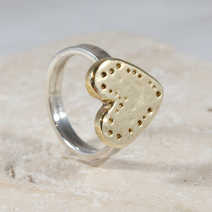 Dainty Brass Silver Heart Ring - The Art Of Love RSK2340