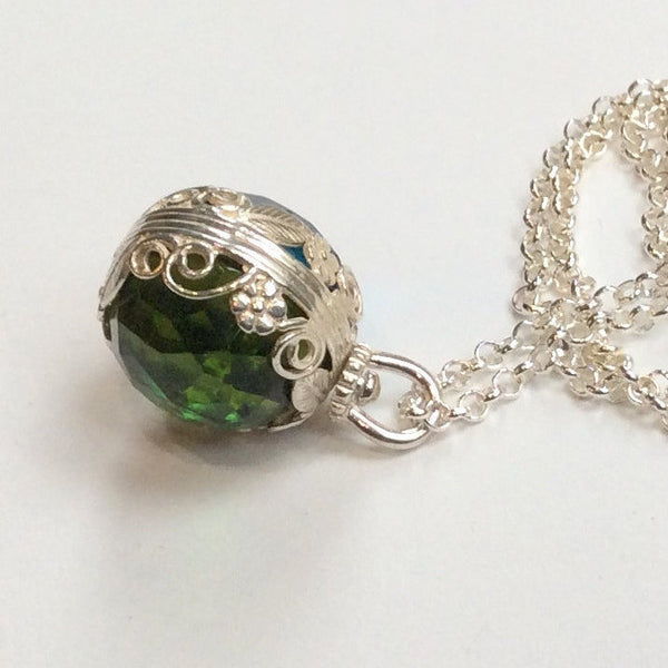 Peridot London topaz pendant, Sterling silver birthstones pendant, two sides pendant, energy ball, floral necklace - Neverland N2000-2