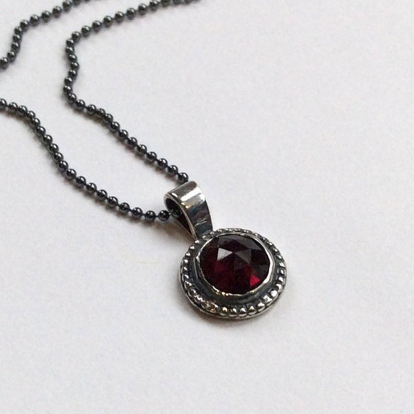 Sterling silver necklace, garnet stone necklace, necklace with pendant, red garnet pendant, little pendant, ball chain - Close to me N2007-3