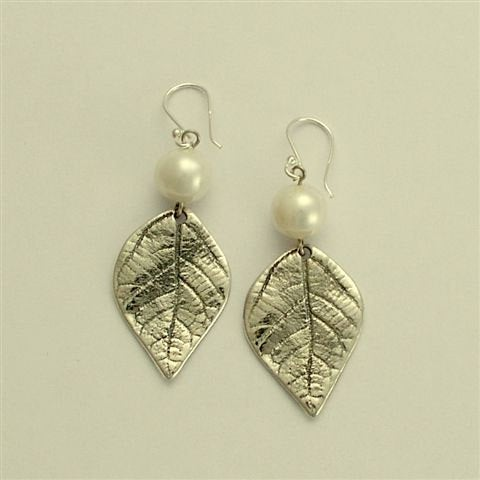 Sterling silver earrings, leaf earrings, pearl earrings, woodland earrings, botanical earrings, June birthstone - Spring abstraction E2128