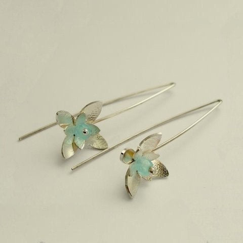 Simple flower shaped earrings, sterling silver earrings, hook earrings, blue quartz earrings, floral earrings, dangle - Hanging Flower E7890