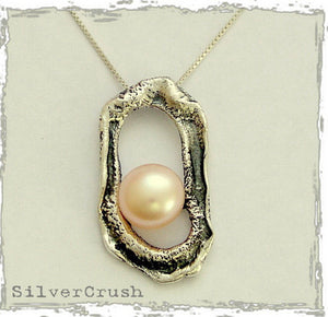 Peach pearl necklace, organic pendant, oxidized, silver pendant, peach pearl pendant, sterling silver chain - Pearl in the rough N4498