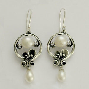 Sterling silver Earrings, dangle earrings,  drop pearl earrings, chandelier earrings, long earrings, drop earrings - Make a wish E2151A