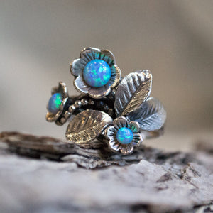 Birth stones ring, mothers ring, Sterling silver ring, opal ring, gemstones ring, silver floral ring, birthstones ring - Blue grass R1696-1