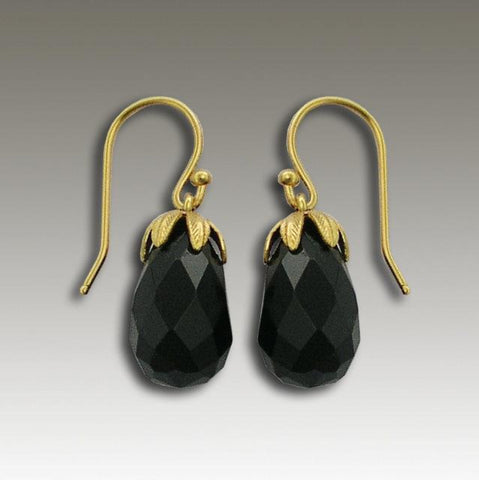 14k gold dangle droplet onyx earrings