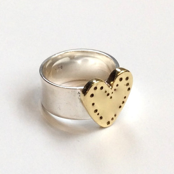 Engagement heart Ring, Silver brass Ring, Two tones Ring, heart Ring, valentines Ring, Statement Ring, boho chic band - I Found love R2340