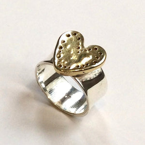 Heart Ring, Silver brass Ring, Two tones Ring, Golden heart Ring, valentines Ring, Statement Ring, Promise ring - I Found love R2340