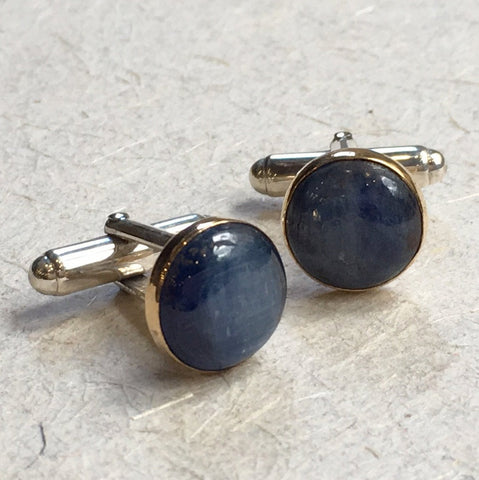 Kynite cuff links, Two tone cuff links, Silver yellow gold cuff links, round cuff links, unique bohemian cuff links -  Blue Light C8000