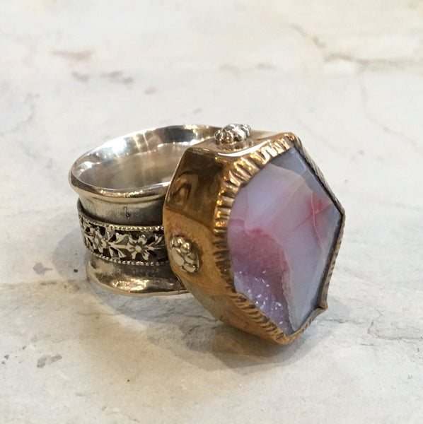 Raw Pink agate ring, wedding engagement ring, Silver gold ring, OOAK ring,  spinner ring, two tones ring, floral ring - Warm welcome R2365