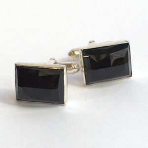 Black onyx rectangle cuff links