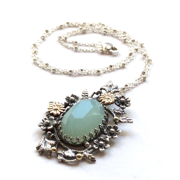 Jade Floral silver gold statement necklace