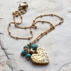 Heart pendant, boho necklace, hammered necklace, Valentines necklace, mixed metal necklace, silver gold brass necklace - In This Heart N2024