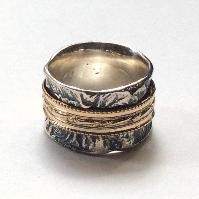 Sterling silver gold ring, spinner ring, meditation ring, wide silver ring, unisex band, rustic ring, boho chic ring - Discover me R2343