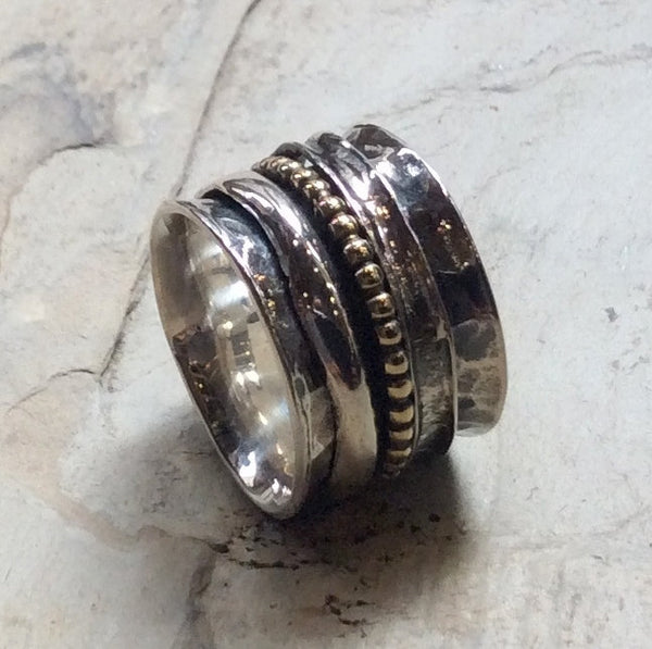 Silver wedding ring, gold filled Ring, eternity ring, three stacking bands, fidget ring, unisex wedding band, wide band - Purpose R2344