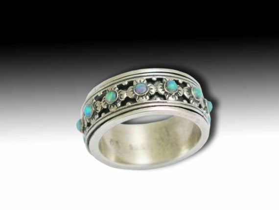 Sterling silver ring, silver band, Floral spinner band, blue opals ring, wedding band, stones ring, Opals ring - New beginnings R1149XS