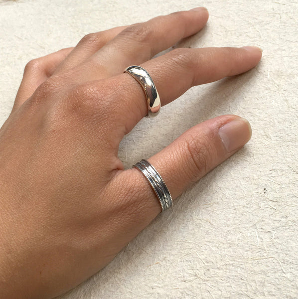 Unisex Wedding ring, stacking ring, boho ring, silver ring, organic ring, stacker ring, unique wedding band, simple - All for love R2374