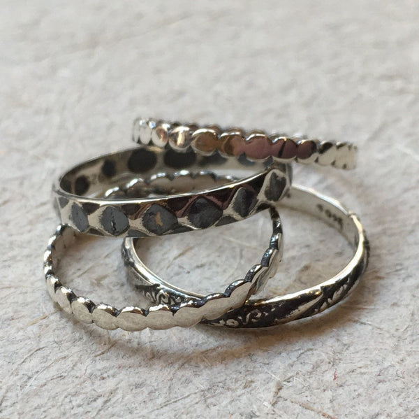 Stacking ring set, Four Sterling silver rings, bohemian jewelry, thin rings, delicate rings, stacking bands - A Promise R2376Q Set of 4