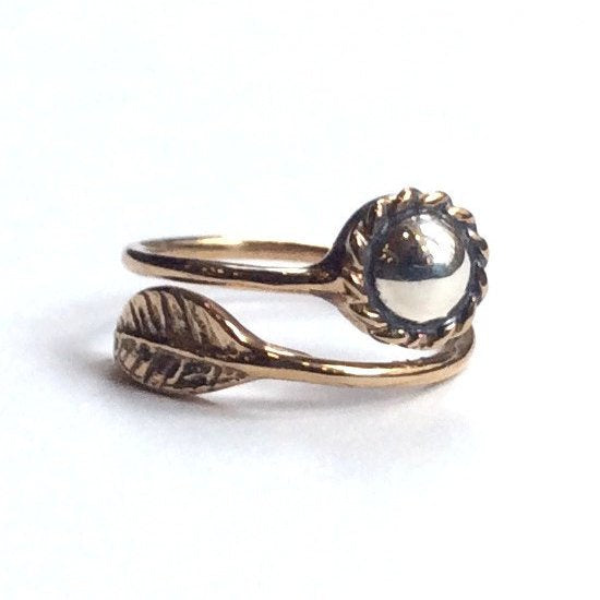 Thin ring, dainty ring, botanical leaf ring, bronze Silver ring, hippie ring, stacking ring, delicate ring - Gone with the wind RC2062S