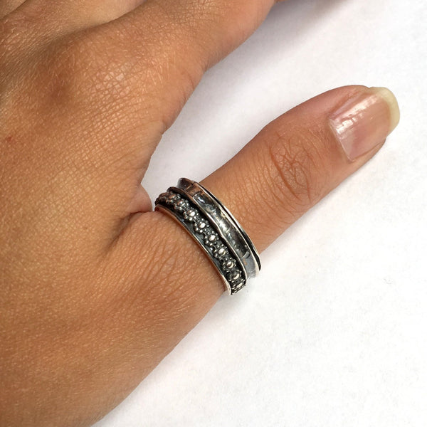 Stacking rings,  spinner ring, meditation ring, wide silver band, sterling silver ring, wedding band, silver band - Deep in your heart R2379