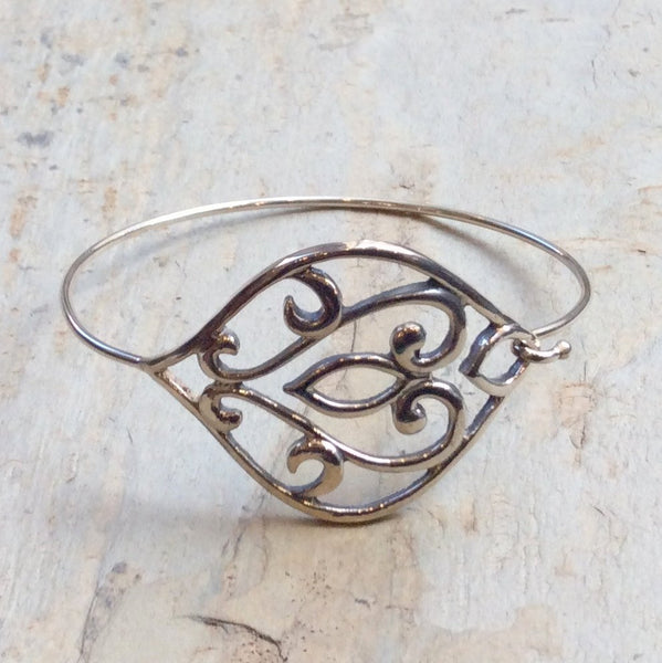 Ornate Bangle, Sterling Silver Bangle, unique Bangle, simple Bangle, gypsy jewelry, boho bracelet, bohemian jewelry for her - Remedy B3010