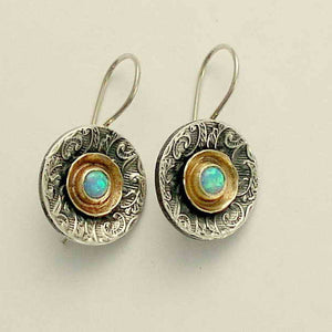 Blue opal earrings, silver gold earrings, Sterling silver earrings, gemstone opal earrings, mixed metal earirngs - Hold my breath E2089A