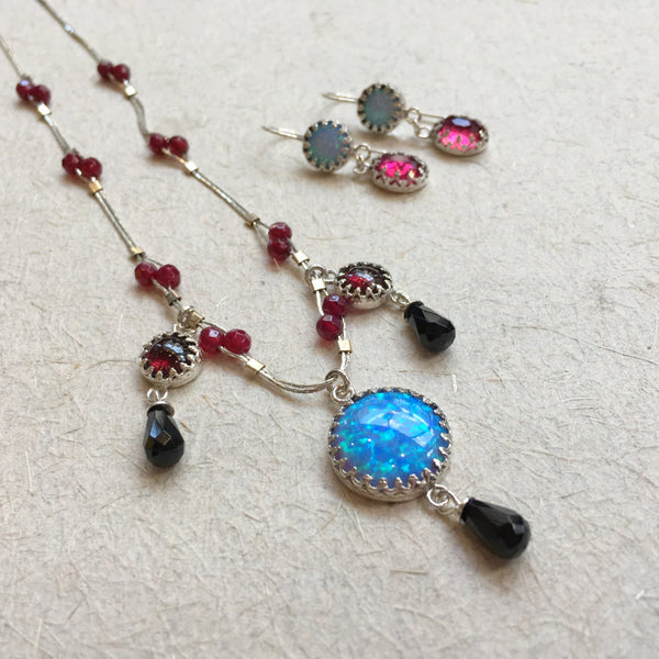 Opal stone necklace, Sterling silver necklace, blue opal pendant, onyx rubies pendant, beaded chain, chandelier - Ancient treasures N2034